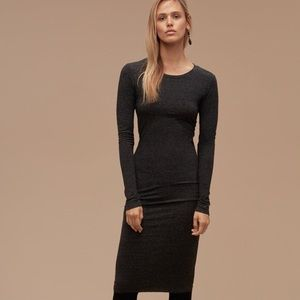Aritzia COMMUNITY Bodycon Longsleeve Ruched Dress